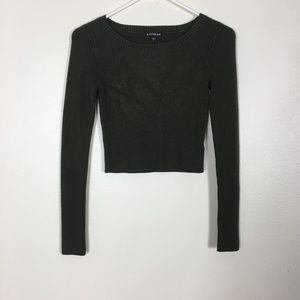 Express Olive Green Cropped Ribbed Sweater